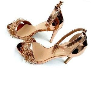 Cupid Gold Single Band Beaded Stiletto Heel Sz 8